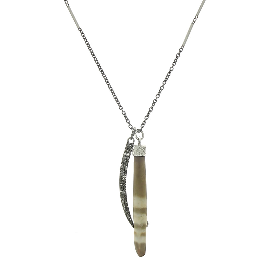 Urchin necklace with pave tusk