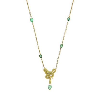 Emerald Snakes Necklace Engraved Leaves