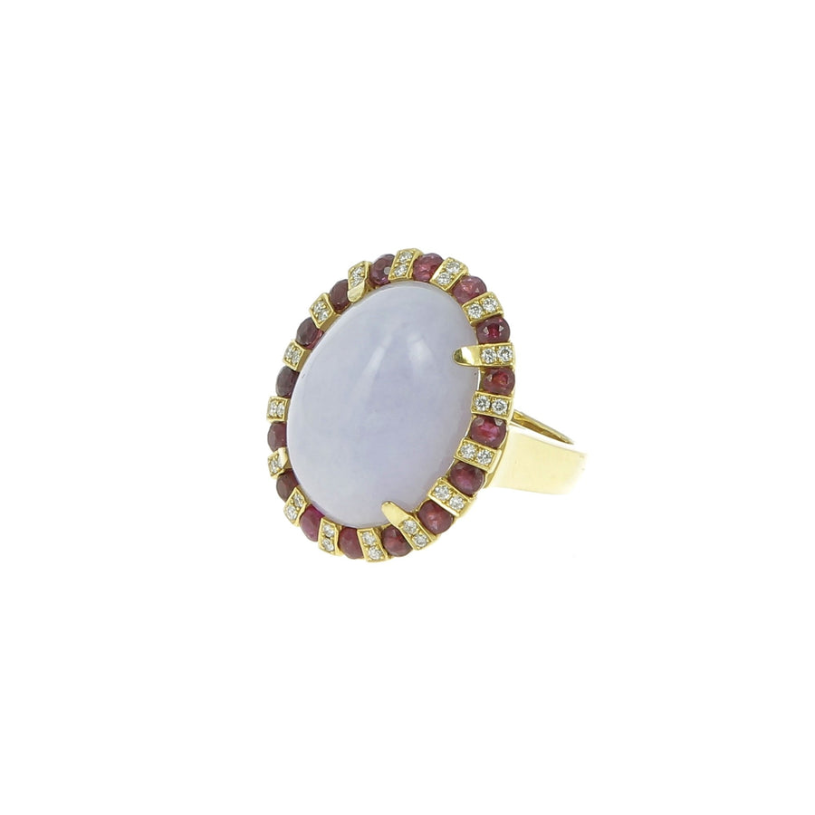 Yellow Gold and Mauve Jade Ring