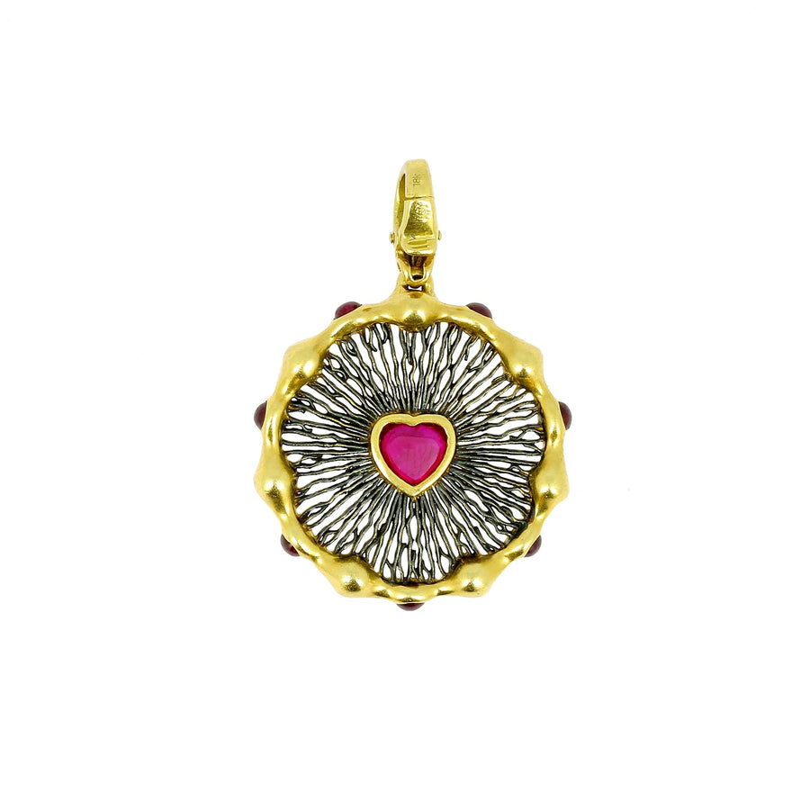Vram heart charm with heart shaped ruby