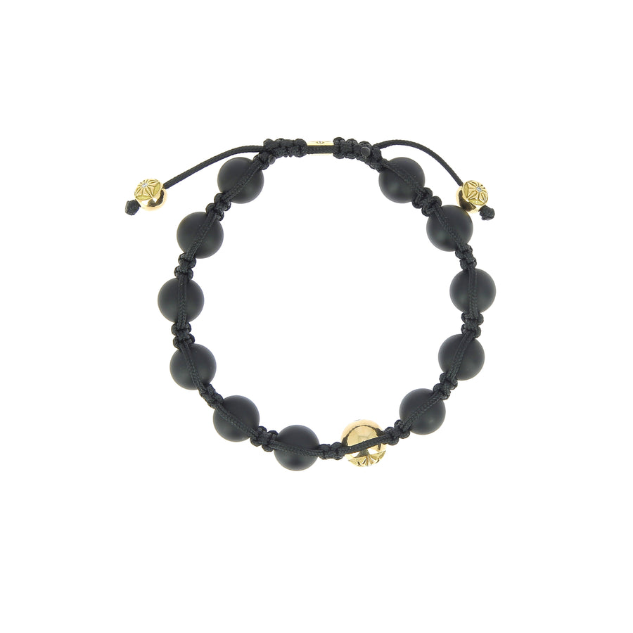 White Diamond Yellow Gold and Onyx Bracelet