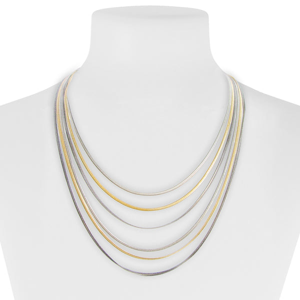 Multi Strand Gold and Silver Necklace