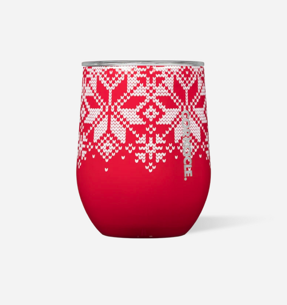 Corkcicle Red Fairisle Stemless