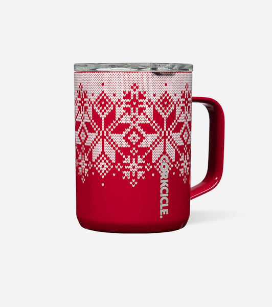 Corkcicle Red Fairisle Mug