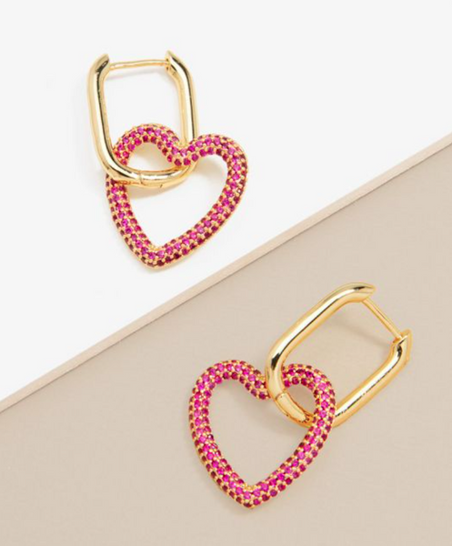 Hot Pink Crystal Heart Drop Earring