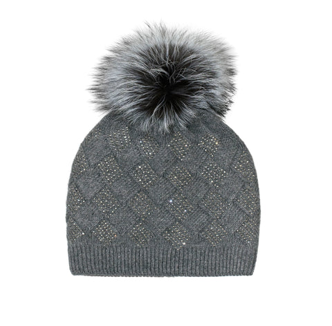 Sparkle Basketweave Pom Hat