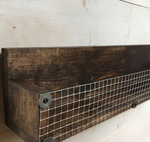 "Load image into Gallery viewer, 22"" Wood Shelf with Chicken Wire Basket - Bravenity"