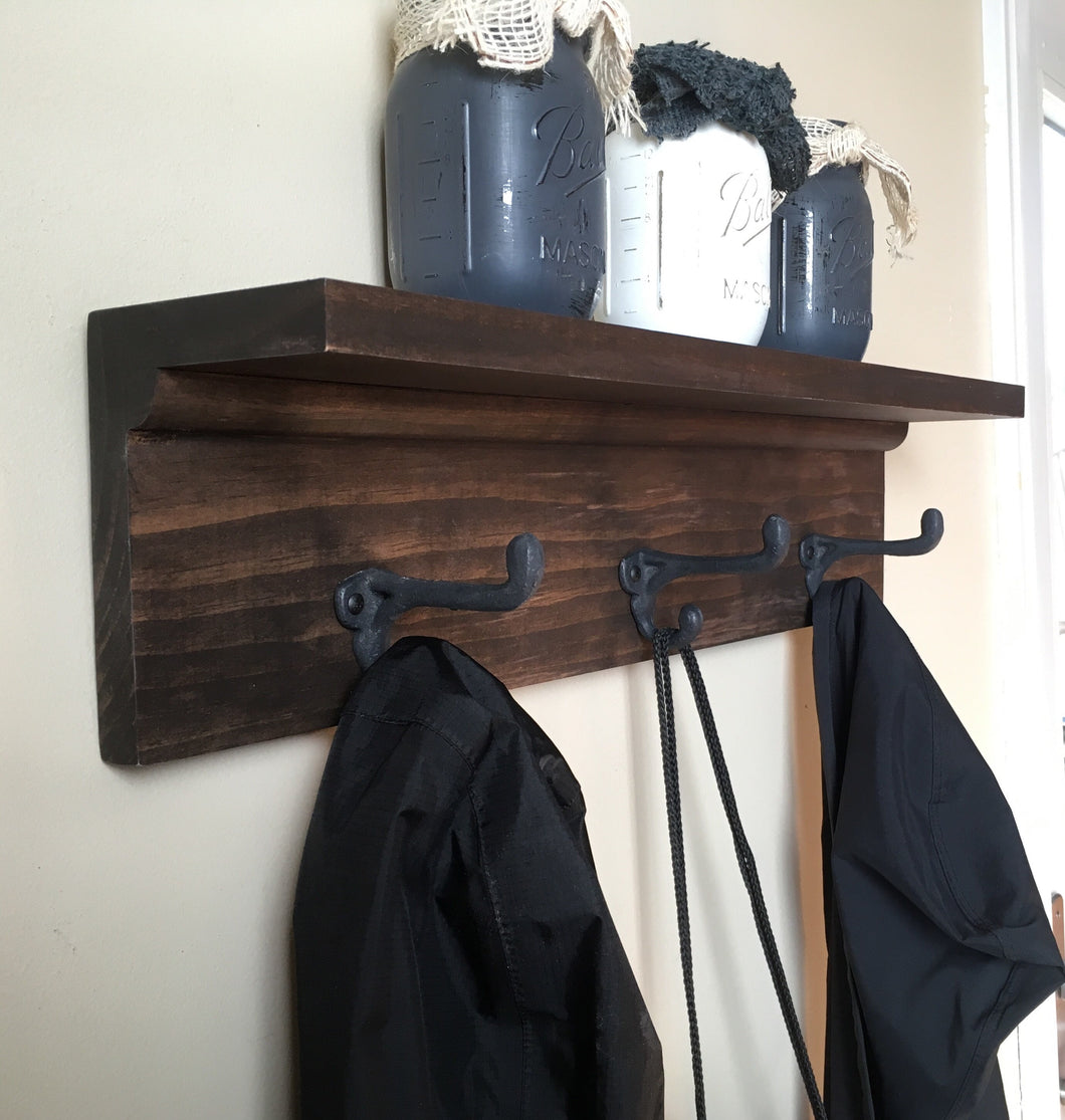 Coat Rack with Shelf with Coffee Brown Finish - Bravenity