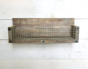 Rustic Basket Shelf with Weathered Finish - Bravenity