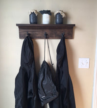 Load image into Gallery viewer, Coat Rack with Shelf with Coffee Brown Finish - Bravenity