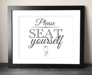 Please Seat Yourself Funny Bathroom Sign Printable - Bravenity