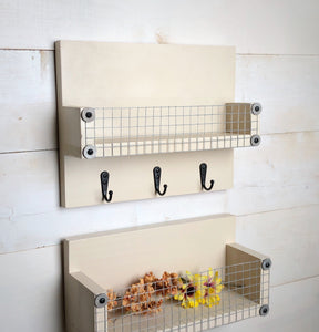 Small Wood Basket Shelf with Cream Color Finish - Bravenity