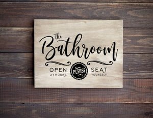 Vintage Style Bathroom Wooden Sign, 12 Inches Wide - Bravenity