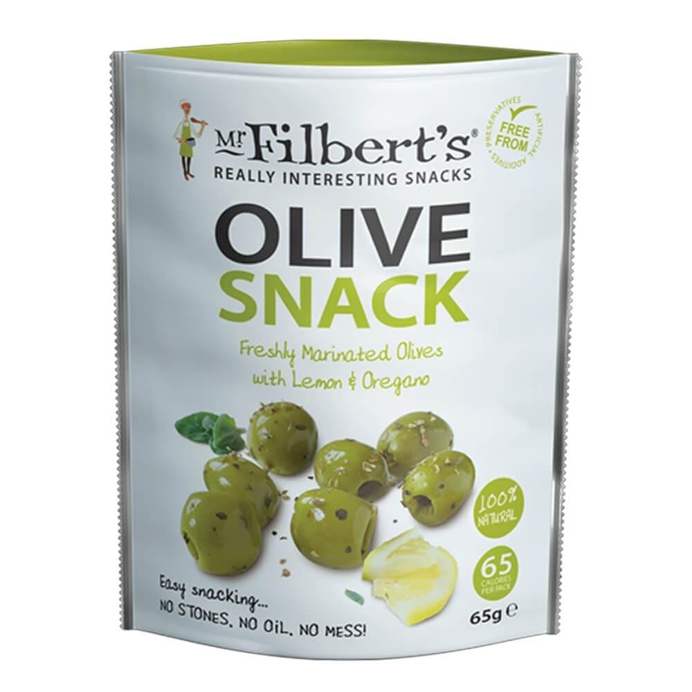 Mr Filberts Lemon & Oregano Green Olives 65g - Applegarth Online Farmshop