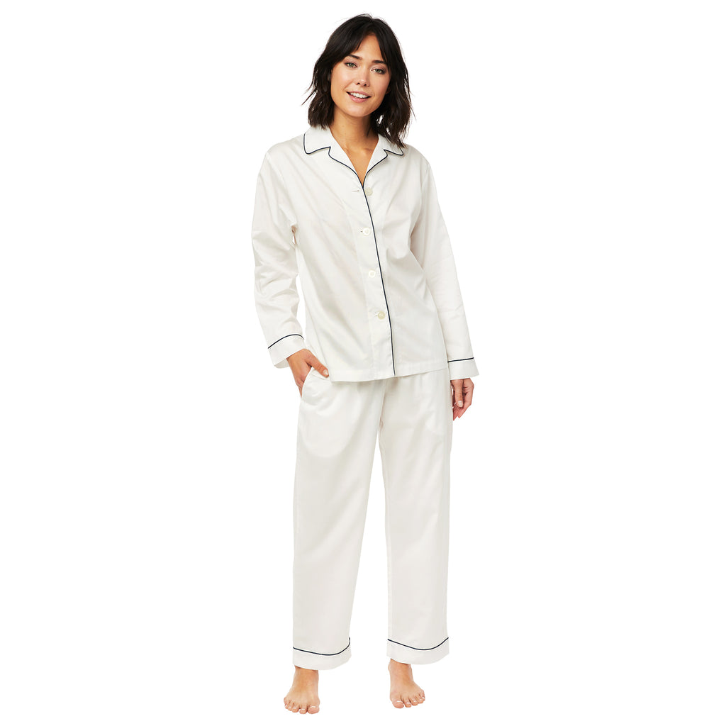 The Cat's PJs Classic White Luxe Pima Pajama, Large only