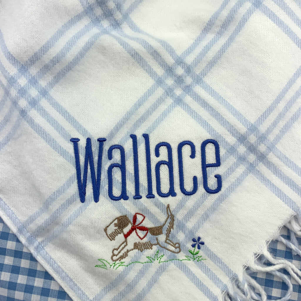 Windowpane Flannel Receiving Blanket with Fringe