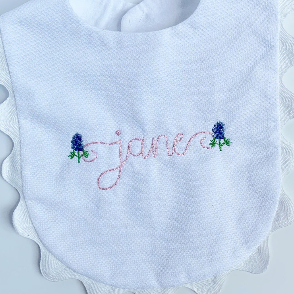 White Piqué Bib with Ric Rac Trim.  4 Colors.