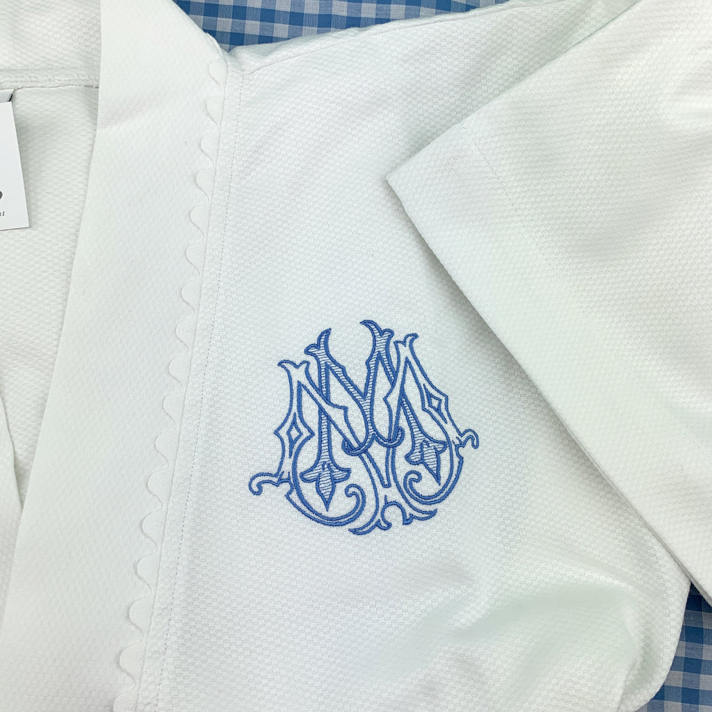 Piqué Spa Robe with Ric Rac Trim