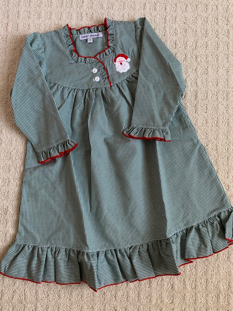 Christmas Nightgown in Green/Red with Santa