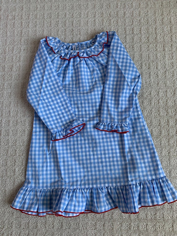 Blue Gingham Nightgown with Red Trim, Size 2.