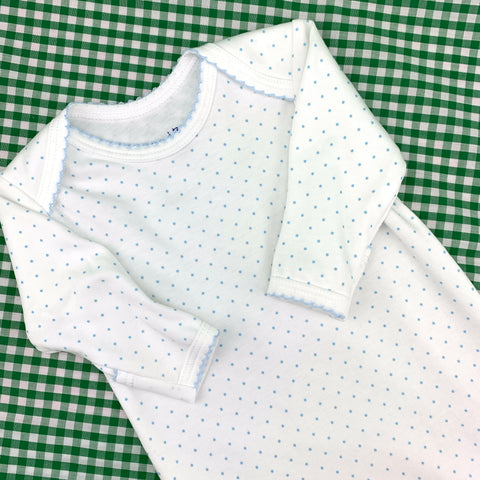 Pima Cotton Gown with Blue Dots, by Ollie & Bess