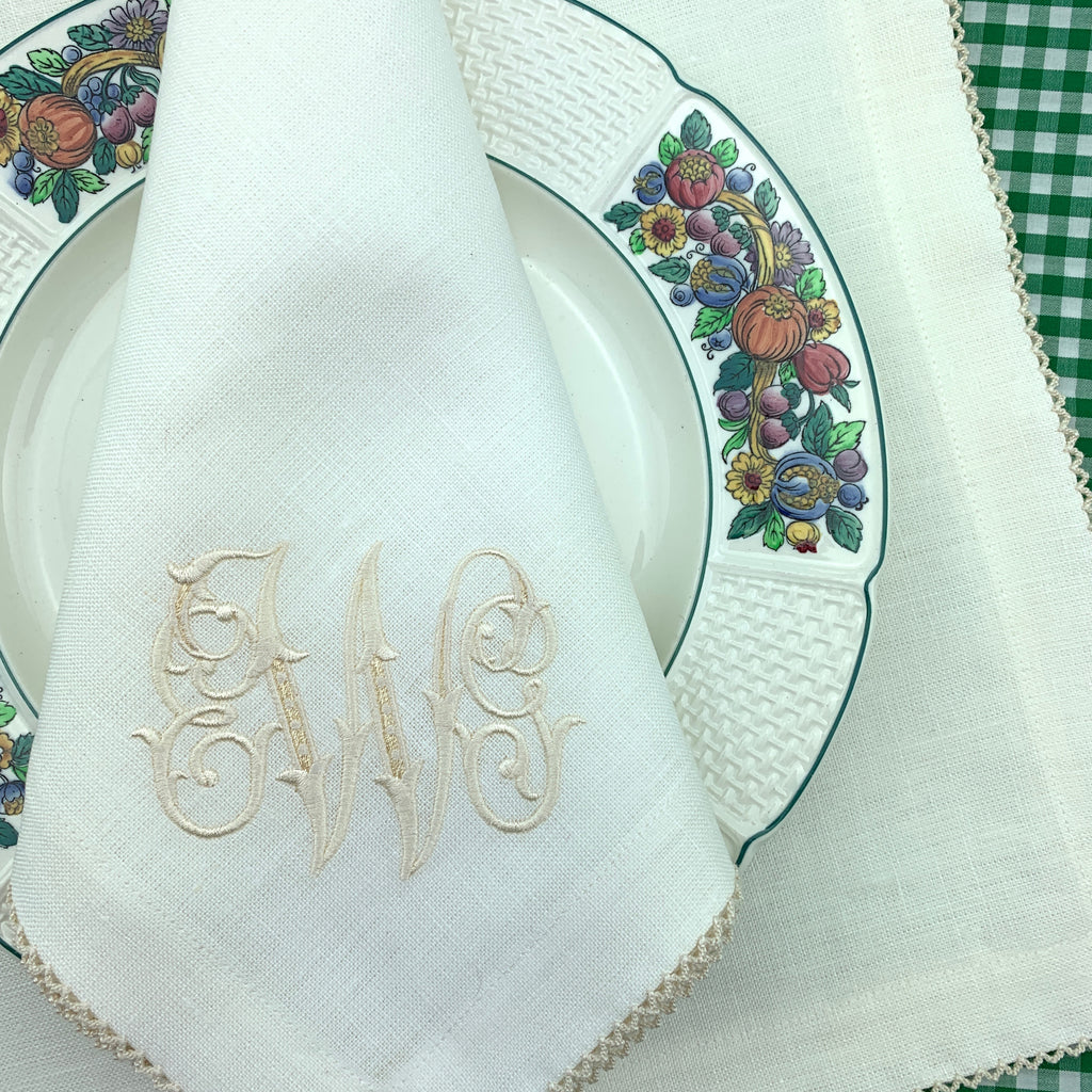Custom Linen Dinner Napkins with Picot Trim (Special Order).  Set of Four.