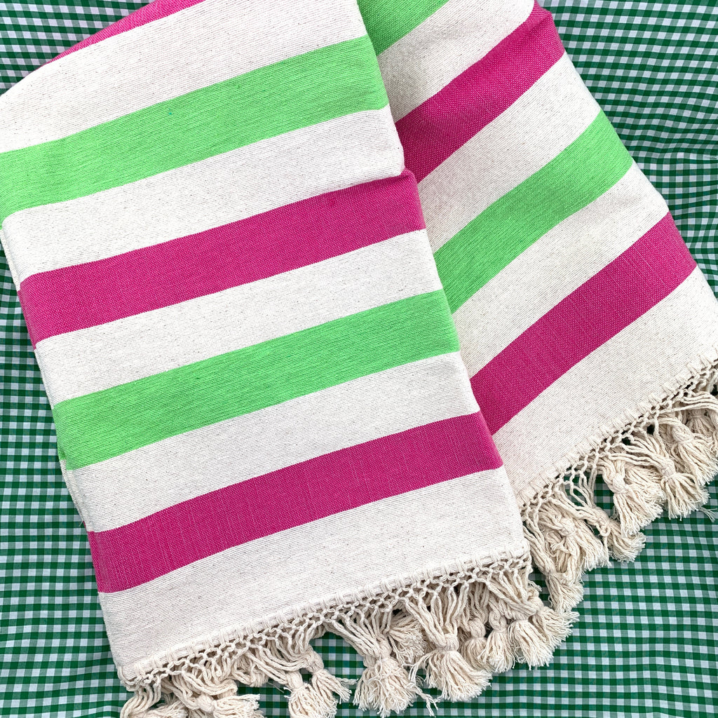 Color Block Striped Throw - Hot Pink Lime