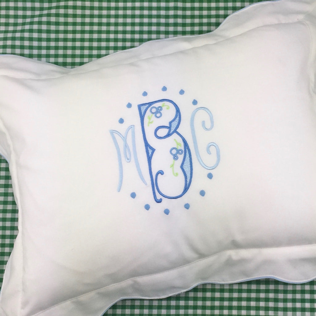 Flanged Boudoir Pillow, with contrast piping.  (Three colors)