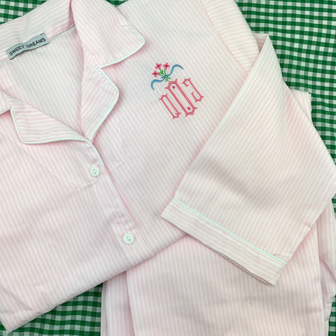 Personalized Pajamas in Blue  or Pink Stripes