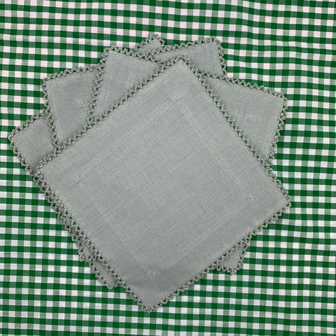 Custom Linen Cocktail Napkins with Picot Trim