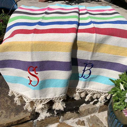 Color Block Striped Throw - Multi