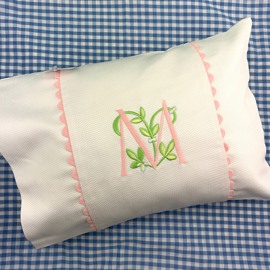 White Piqué Boudoir Pillow Case with Ric Rac Trim