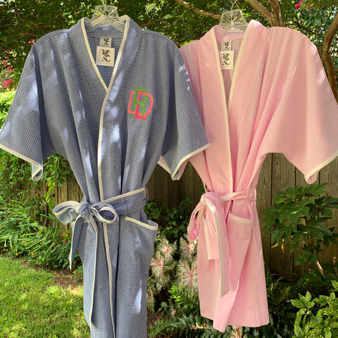 Gingham Seersucker Short Spa Robe