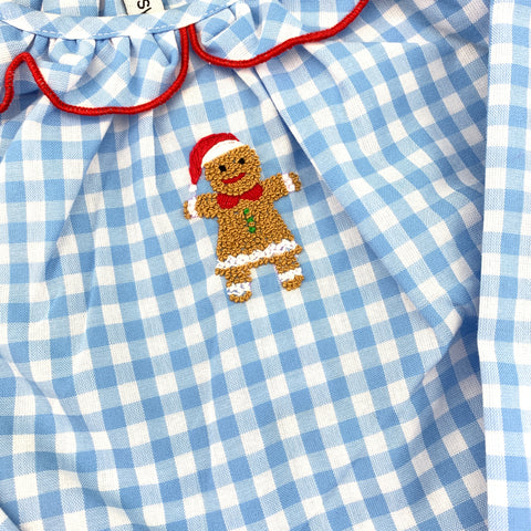 Christmas Nightgown in Blue/Red with Gingerbread Man