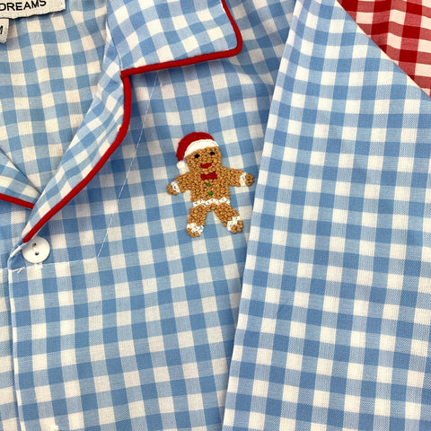 Christmas Pajamas in Blue/Red with Gingerbread Man