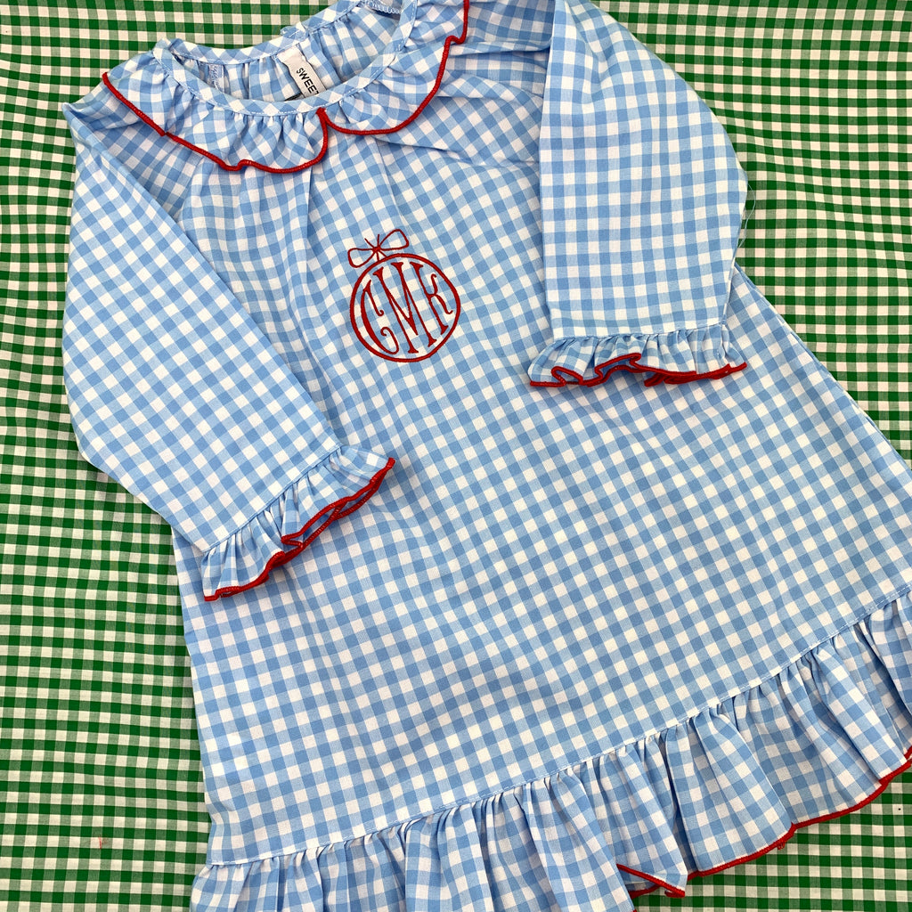 Blue Gingham Nightgown with Red Trim
