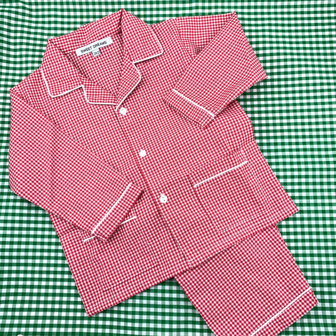 Red Gingham Pajamas, size 3 & 5