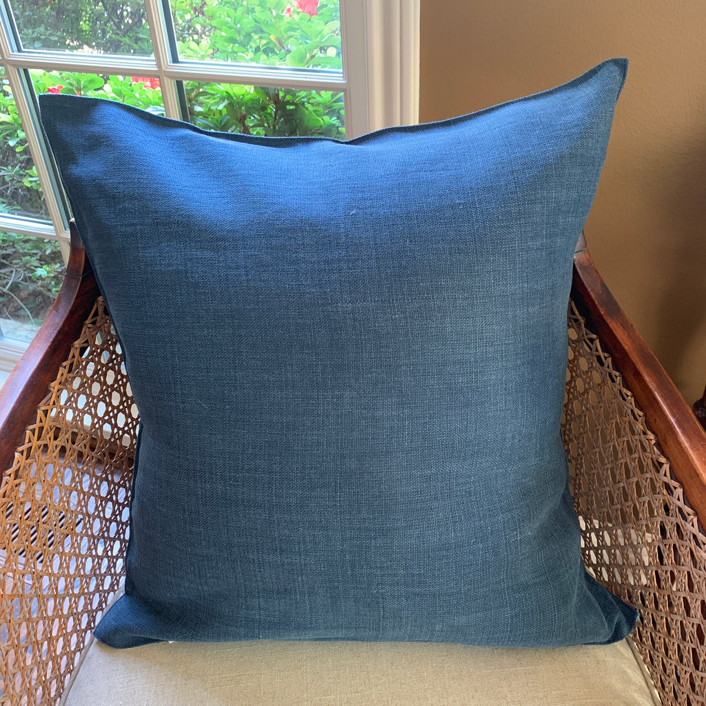 Navy Linen Pillow Cover by Libeco Linen