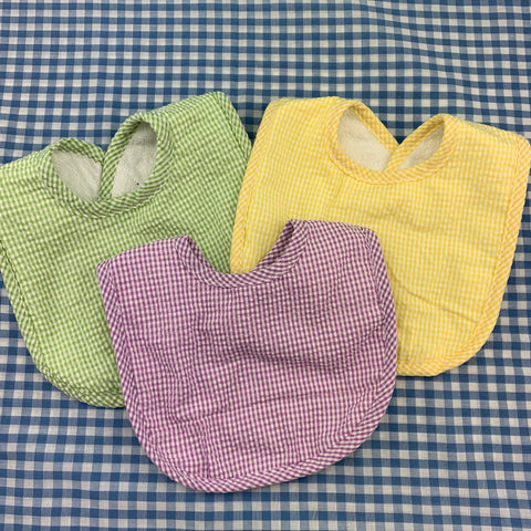 Gingham Seersucker Bib.  (Various colors.)