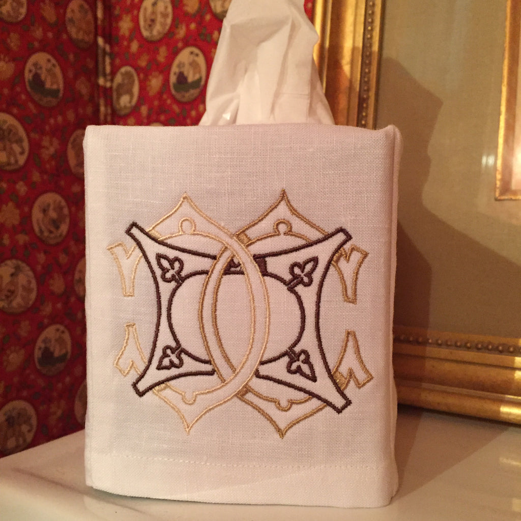 White Cotton Tissue Box Cover