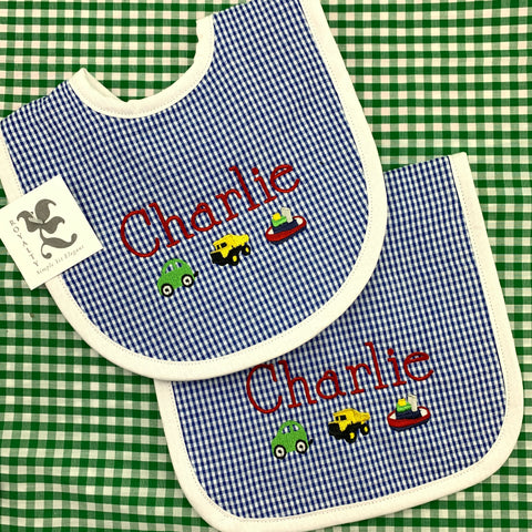 Gingham Bib & Burp Set (Two colors)