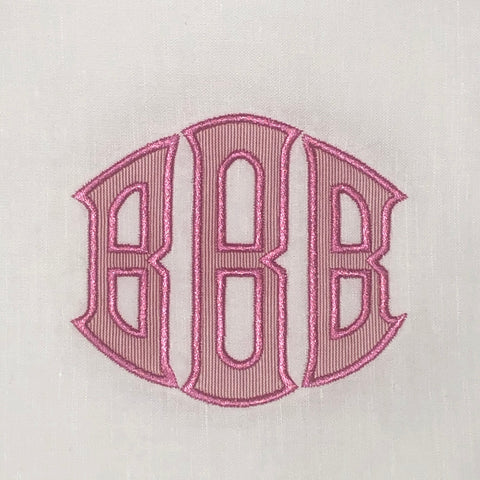Large Horizontal Oval Appliqué Monogram - 9 inch