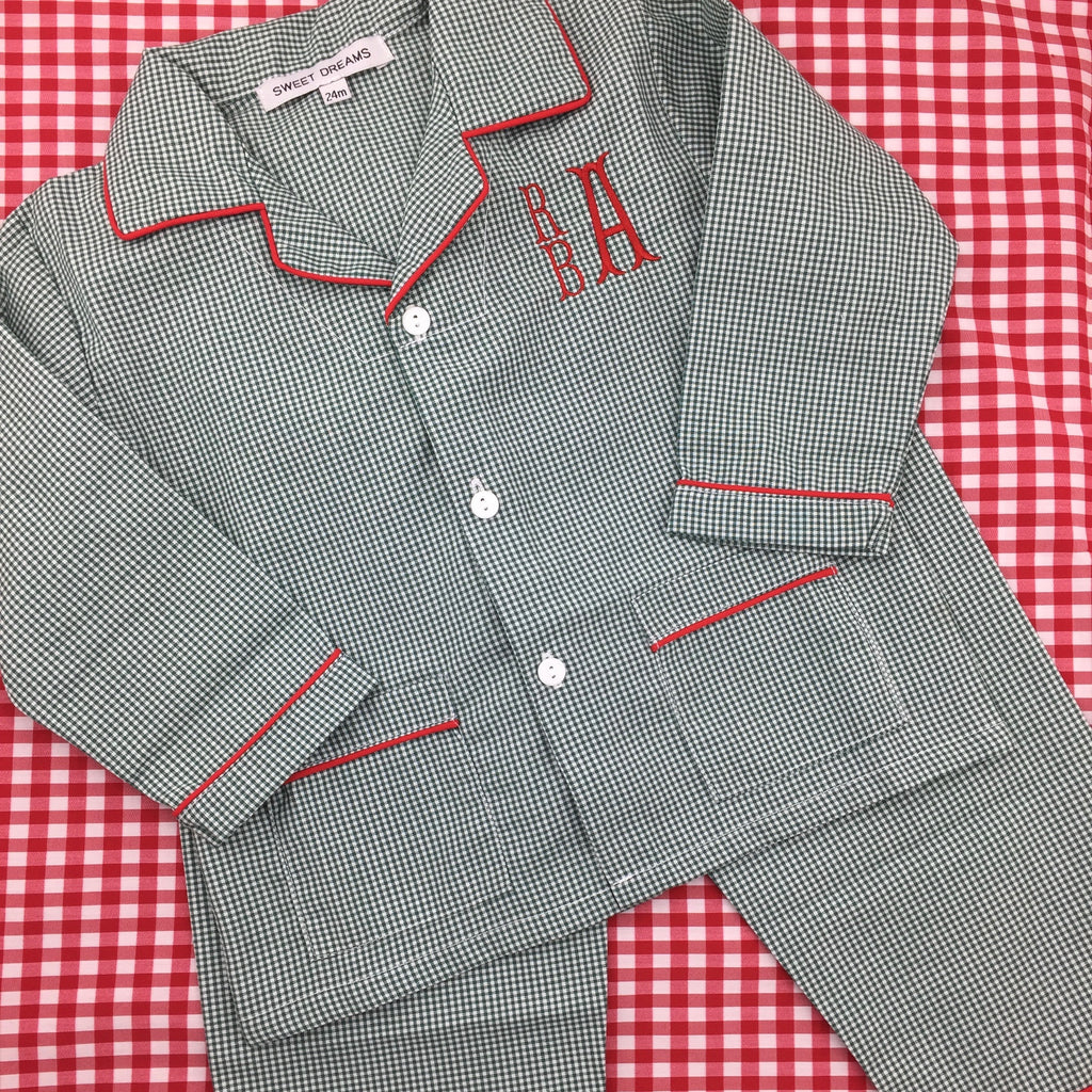 Green Gingham Pajamas with Red Trim