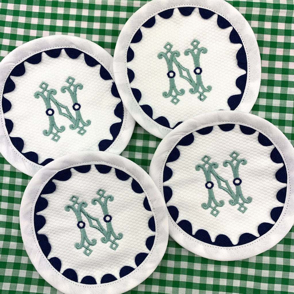 Round Cotton Piqué Coasters with Ric Rac Trim