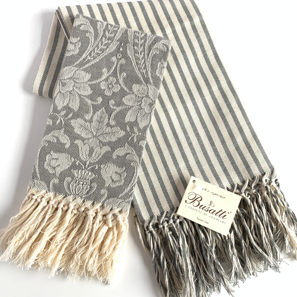 "Melograno Striped Long Fringe ""Face"" Guest Towel.  Grey"