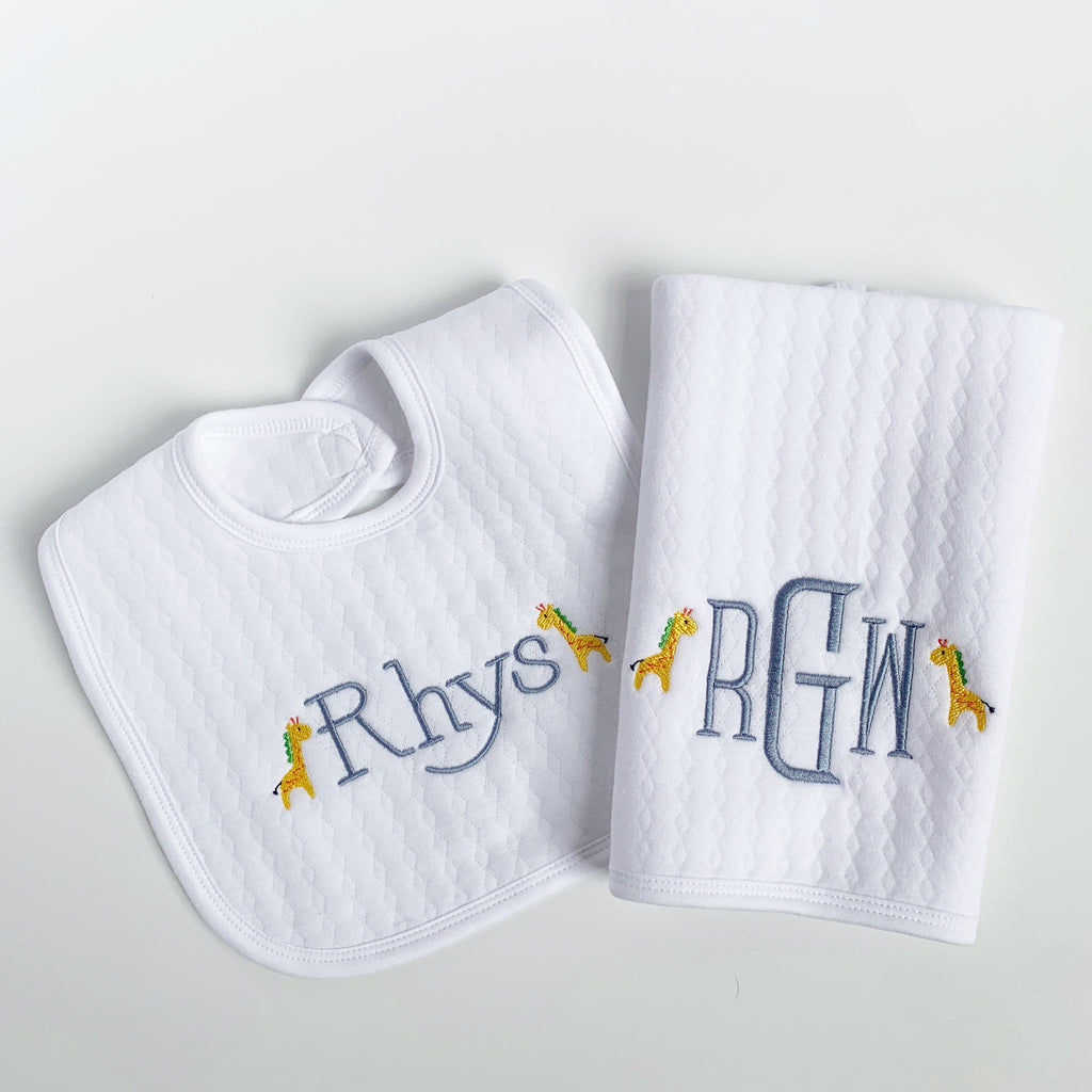 Cotton Knit Bib & Burp Set