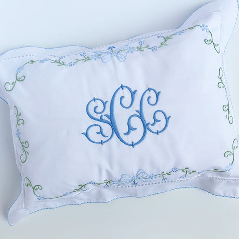 Floral & Bow Shadow Embroidery Boudoir Pillow  (Two colors)