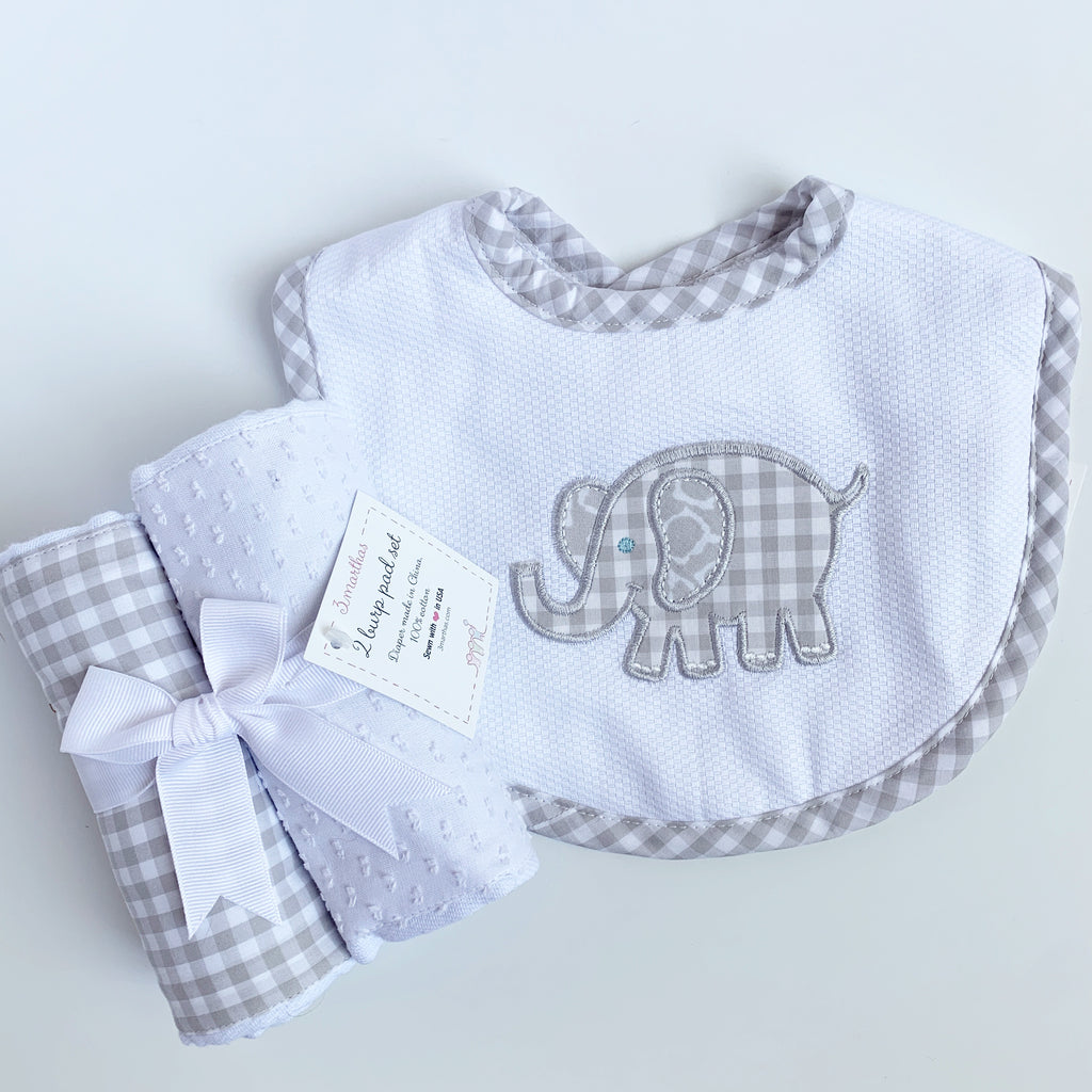 Elephant Bib & Burp Sets, by 3Marthas (Two colors)