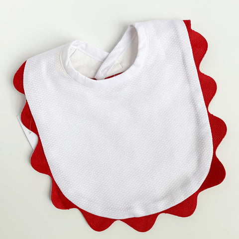 White Piqué Bibs with Red Ric Rac Trim. (3 sizes)