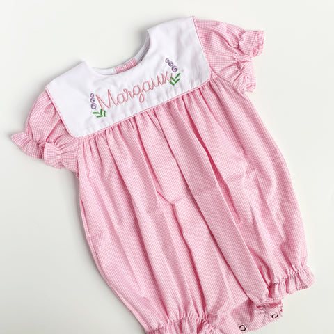 Lulu Bebe Light Pink Gingham Collared Bubble with short sleeves.